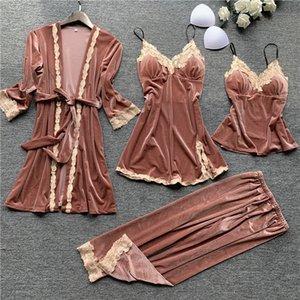 Otoño 4 piezas Mujer Pijamas Conjuntos Bata Robe Sleepwear Velvet Nightwear Pijama Strap Sleep Lounge Set Pijama con Pecho 735 K2