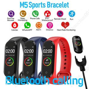 M5 colorido tela inteligente faixa de fitness rastreador relógio esporte pulseira faixa de coração a pressão arterial monitor smartband monitor saúde navio livre navio