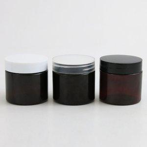 30 unids marrón oscuro ámbar plástico crema redondo botella de frasco con tapa blanca negra tapa de tornillo 2oz Muestra cosmética contenedores 60 g 60ml