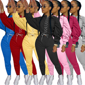 hot womens two piece set tracksuit shirt pants outfits long sleeve sportswear trousers sweatsuit tights sportswear women clothing sets