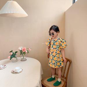 INS new Girls floral printed dress 2021 summer children Puff sleeve dress kids cotton princess dress A5840