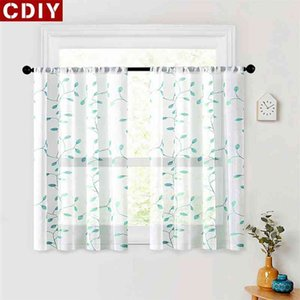 CDIY Embroided Leaves Short Curtain For Kitchen Living Room Tulle Window Sheer Voile Drapes Screening Treatment 210712