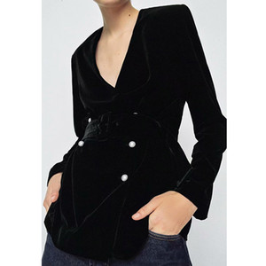 2021 New Autumn Winter Women Blet with Veet Blazers Solid Long Sleeve Causal Lady Jackets Elegant Girls Suit Office Outfits 94QB
