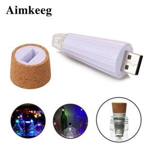 AIMKEG 1 STÜCK USB wiederaufladbare Flaschenlichter Premium-Flaschenkappe Kork-Stopper-Lampe kreative romantische Kork-Lichter weiß / bunt