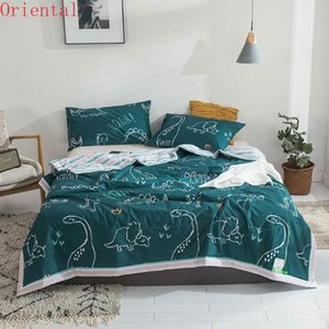 Comforters & Sets Cartoon Green Dinosaurs Summer Air Conditioning Quilt StitchingThrows Blanket Washable Cotton Twin Queen Size