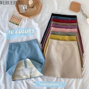 Werueruyu A-Line Женские юбки Маленькая кожа Ранняя осень Новая корейская версия высокой талии Студенты дикого пакета HIP 210305