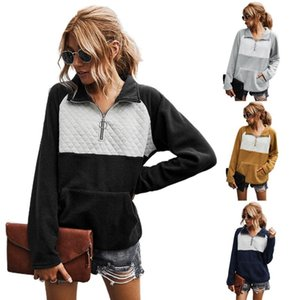 Womens Hoodies Casual Style Quarter Zip Long Sleeve Sweatshirt Color Block Lapel Loose Pullover Tops J78E