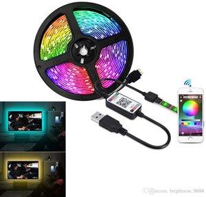 Luz de tira LED, control de Bluetooth DC5V RGB SMD5050 30 LEDS / M LED USB Colorido sincronización para Temporizador de música Flexible Walglight Kit para la luz de fondo de TV