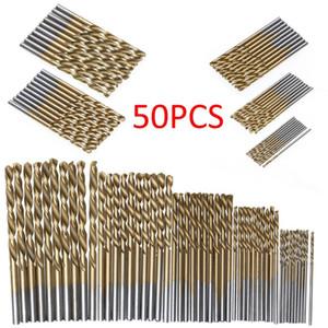 50 unids Titanium revestido de taladro de titanio Bit de acero de alta velocidad Conjunto de perforación de potencia de alta calidad Herramientas de perforación para madera 1 / 1.5 / 2 / 2.5 / 3mm