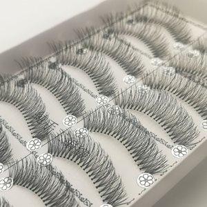 Top quality 10 Pairs Natural Wispy Long False Eyelashes lashes Extension Messy Handmade Eye Makeup Cross Curved Fake Eye Lash Makeup Kit
