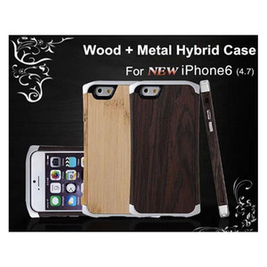 For Iphone 6   6 Plus Wooden Case Wood Bamboo Aluminum Metal Hybrid Frame Small Waist Cleave Hard Back Cover W  Leather Pouch Bag 4.7 Jvv5C
