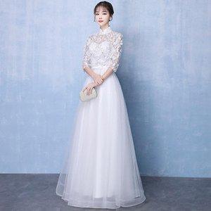 Banchetto stile orientale bianco Abiti da banchetto cinese vintage tradizionale matrimonio cheongsam grandeur sera party dress taglia xs-xxxl