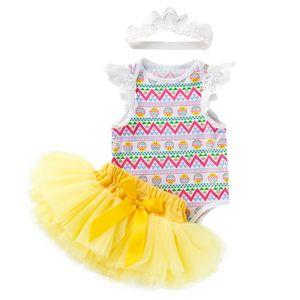 New Baby Girl Easter Egg Print Romper Yellow Princess Skirts Lace Headbands 3Pcs Set Sleeveless Triangle Romper Skirt Clothing Sets M3332