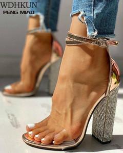 Estate Donne tacchi alti Scarpe T Stage Transparent Sandali Trasparenti Pompa Sexy Pompa Sexy Copertura femminile Tacco Partito Matrimonio Signore Zapatos de Mujer W7ky #
