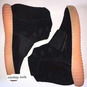 Kanye West 750 Çizmeler Erkek Glow Koyu Açık Gri Üçlü Sneaker Siyah Yüksek Ayak Bileği Kaykay Spor Ayakkabı Kadın Boyutu 36-46 A1