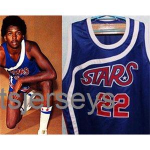 22 Mosè Malone All Stars Bule Bule Bianco Basket Jersey Cucito Personalizzato Qualsiasi numero Numero