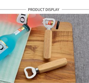 Simple non-porous wooden handle stainless steel bottle openers household bar beer soda opener BWD9177