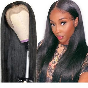 28 30 Inch Long Straight 13x4 Lace Front Human Hair Wigs Pre Plucked Brazilian 4x4 5x5 6x6 7x7 Closure Wigs For Women Wholesale