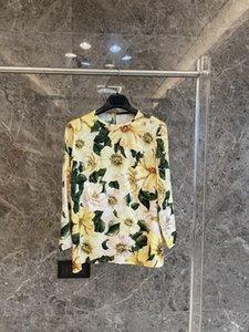 여성 블라우스 셔츠 2021 실크 동백 프린트 플로랄 휴가 O 넥 전체 빈티지 긴 소매 최고 품질의 시칠리아 활주로 V8YY