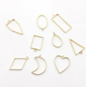 Min order Alloy jewelry setting accessories rectangle hollow glue blank pendant tray bezel charms DIY Handmade Craft