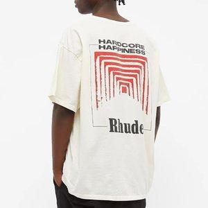 올바른 버전의 Rhude Chaozhou 브랜드 담배 케이스 인쇄 High Street BF 스타일 느슨한 반소매 남성용 T 셔츠 여성 연인의 바닥