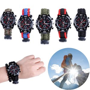 في الهواء الطلق Paracord Survival Watch Watch Watch سوار مع صافرة البوصلة