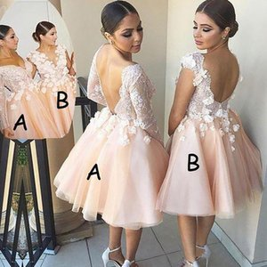 2021 Short Bridesmaid Dresses with 3D Floral Applique Long Sleeves Halter Scalloped V Neck Tulle Straps Custom Made Maid of Honor Gown