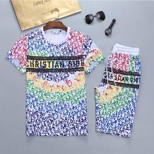 Running Tritsuits Crew Sportwste Sportswear Casual Imprimir letra Traje corto Hombres Mujer Camiseta + Pantalones cortos