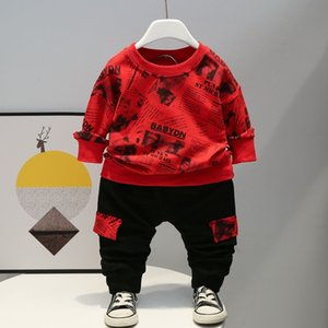 New Sport Spring Autumn Children Clothes Baby Boys printe T-shirt Pants 2Pcs sets Infant Kids Cotton Toddler Casual Tracksuits 210225