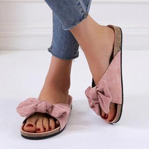 여성 패션 보우 비 슬립 슬리퍼 여름 넥타이 평면 두꺼운 하단 슬리퍼 실내 야외 해변 홈 컴파니 아름다움 신발 R9tr #