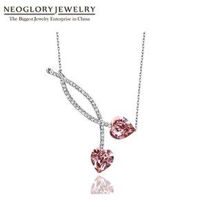 Néoglory autriche cristal tchèque strass charme collier amour coeur conception alliage placé en gros romantique dame dame