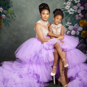 Purple High Low Girls Pageant Dresses High Neck Beading 3D Flower Layered Tulle Skirt Kids Birthday Party Dress 2021