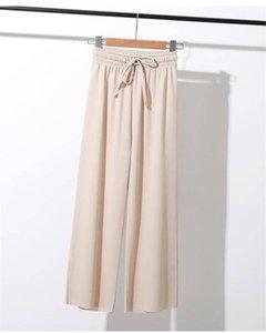 Women Summer Thin Knit Trousers Black Wide Leg Loose Pants Ankle Length Pants Casual Trouser Elastic Waist Plus Size