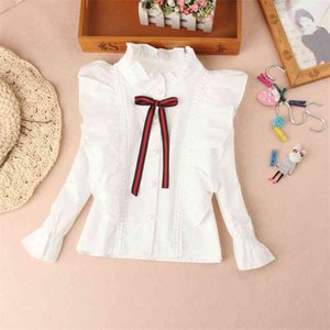 Arrival Girls Blouses Fall Children Clothes White Mandarin Collar Blouse for Back To School Shirts Teen Kids Tops 210622