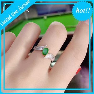 Colife 925 Swing With 4*6 Mm Natural Ring For Office Woman Silver Emerald Jewlery