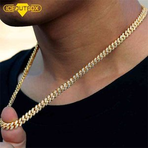 Iceoutbox 6mm Cleiged Out Bling Cell Mechlace Горный хрусталь Золотой Miami Cuban Link Цепочка для женщин Мужские Хип-Хоп Ювелирные Изделия Подарки