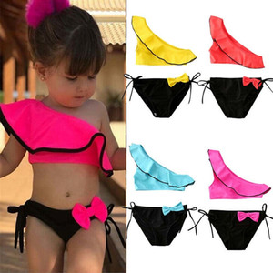 2020 Summer Swimsuit Toddler Kid Girl Oblique Shoulder Vest Bowknot Swimsuit Swimwear Swimming Bikini 2Pcs C0225