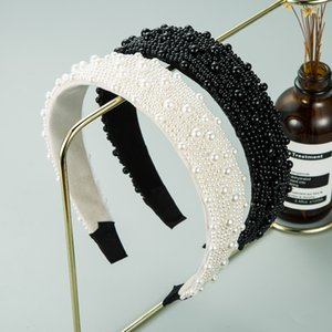 S2027 Hot Fashion Women Hair Jewelry Handmade Faux Pearl Beads Cloth Hair Hoop Hair Band Accessories Headband