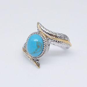 الأزياء ريشة الفيروز الدائري الأزرق الماس الدائري مجوهرات النساء حلقات الأزياء والمجوهرات سوف والرمل هدية عيد الميلاد