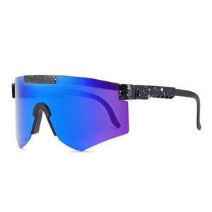 Солнцезащитные очки 2021 Pit Viper Flat Top Eyewear TR90 Синяя Рама Зеркала Линза Ветерзащитный Спорт Мода Поляризована для человека Женщина UV400
