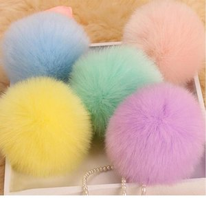 Fluffy Pompon Fur Ball Key Chain For Women Faux Rabbit Fur Pompom Keychain Charm Bag Key Ring Holder Gifts Ran jllnLd