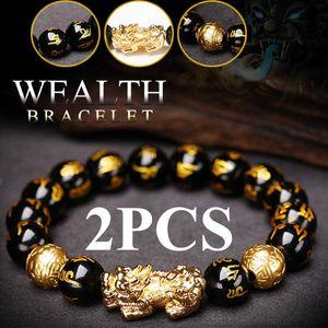 Luxury Designer Jewelry 2pcs Obsidian Stone Claws Bixie Black Empire Feng Shui Bracelets Lucky Bracelet for Women Man 2021