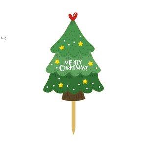 Cake Insert Card Christmas Cartoon Acrylic Printing Santa Claus Tree Party Cake Decoration Inserted Flag LLF11124