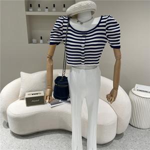 Spring Summer Women's Fashions Versatile Short Striped Mesh Thin Retro t Shirt 3a1f