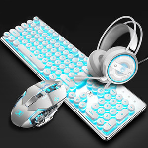 Mechanical Gaming Keyboard and Mouse Combo, Retro Steampunk Vintage Keyboard,104-Key Wired USB Metal Panel Round Keycaps 6698