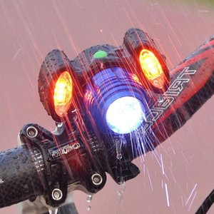 Bike Lights USB Rechargeable LED Bicycle Headlight 3-Lamps Waterproof 360-degree Rotation Non-slip Portable Cycling Accessries1