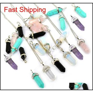 Shape Real Amethyst Natural Crystal Quartz Healing Point Chakra Bead Gemstone Opal Stone Pendant Chain Necklace jllFKh otsweet