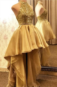 Sexy Gold Sequins Prom Dresses Halter Sparkly High Low Backless Beaded Custom Made Evening Party Gown Vestidos Formal Occasion Wear