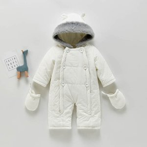 Winter Baby Romper Gloves Sets Newborn Jumpsuit Hooded Infant One Piece Clothing Toddler Clothes SM024