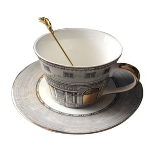 lina Tea Cup Nordic Bone Gold Window Retro Swan Castle Classic Wind Coffee Cup (Does not contain a spoon) mug set